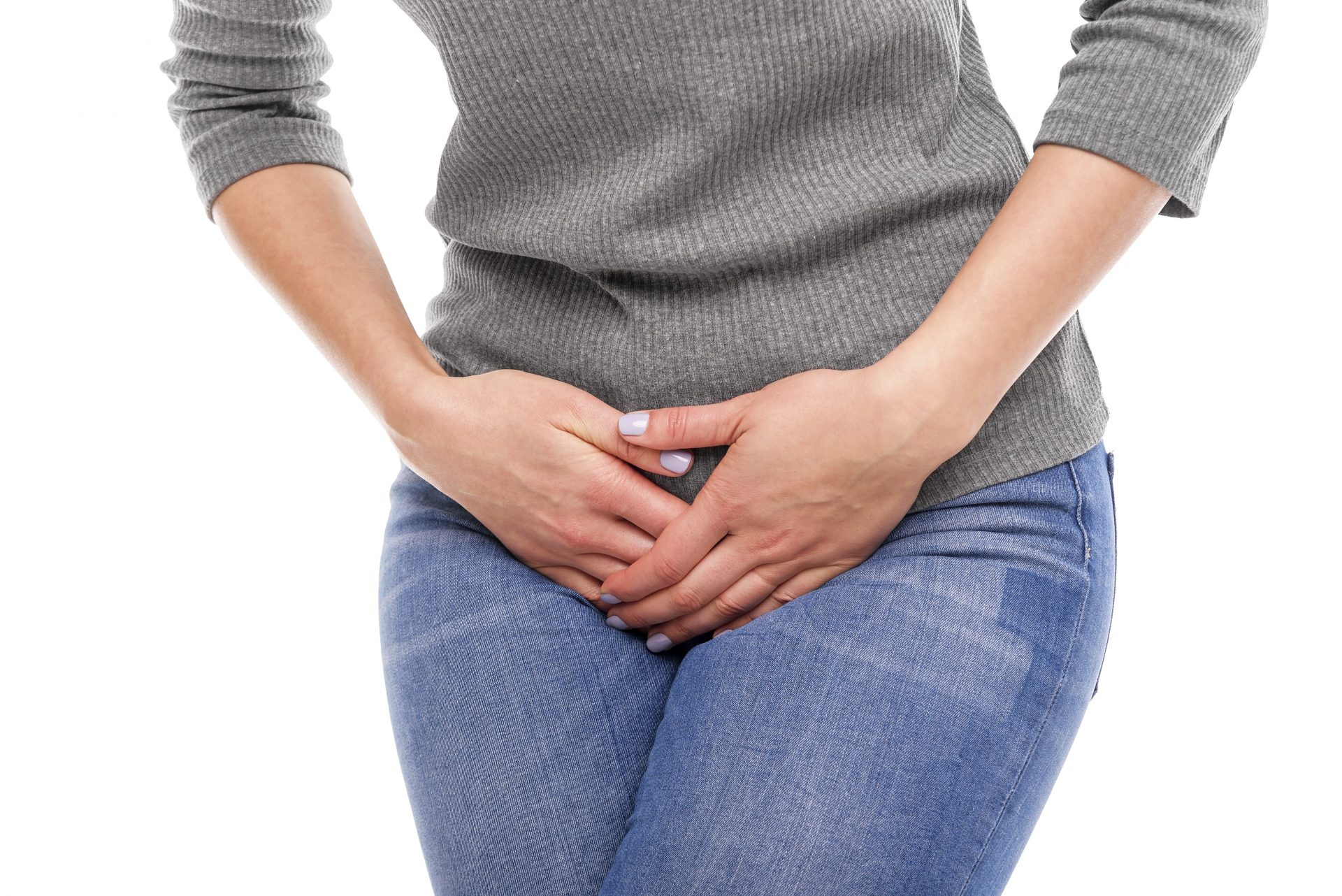 Female suffering from urinary incontinence